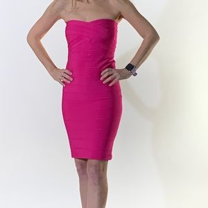 NWOT Sexy Hot Pink Strapless Bodycon Dress Size S